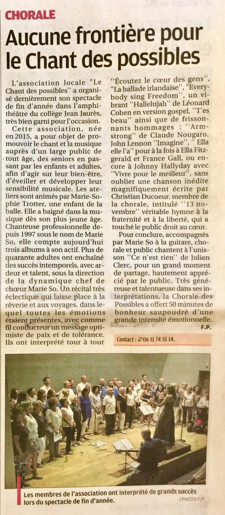 Article Juillet 2018 après notre concert à l'amphithéâtre du collège J.Jaurès-La Ciotat